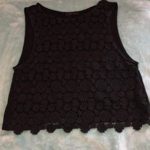 Crop top with see-through floral pattern